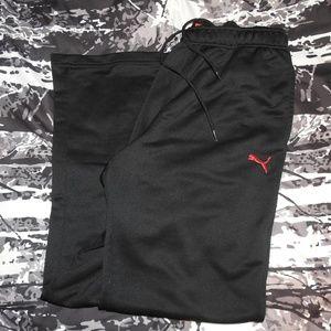 Mens Puma Jogging Pants Small Black Red Logo